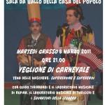 volantino veglione di Carnevale 8.03.2011